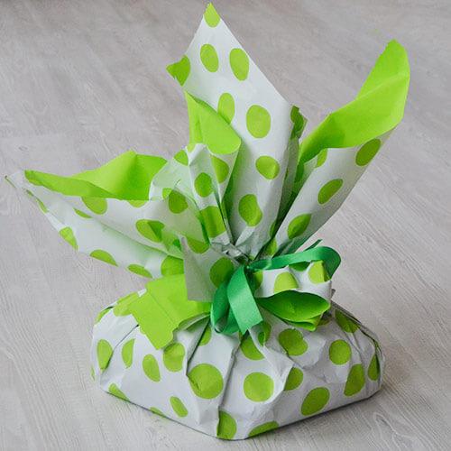 confezione regalo pois verdi
