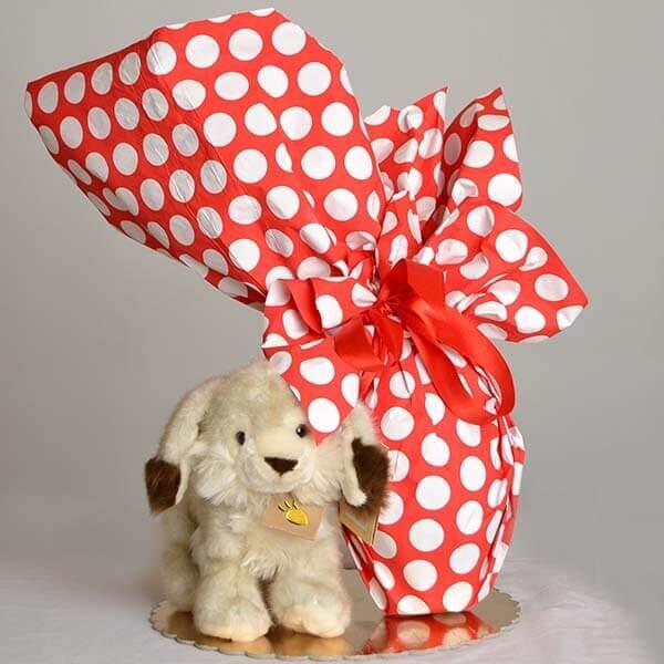 Uovo di Pasqua cioccolato fondente - peluche coniglietto