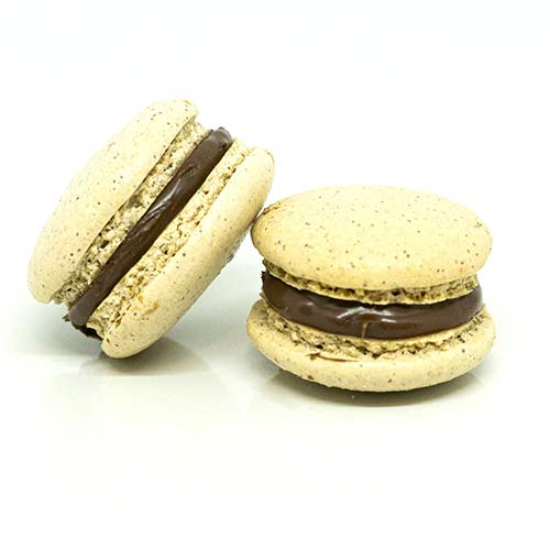Coffee macarons with chocolate cream