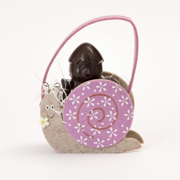 Borsetta lumaca rosa con pupazzo di cioccolato