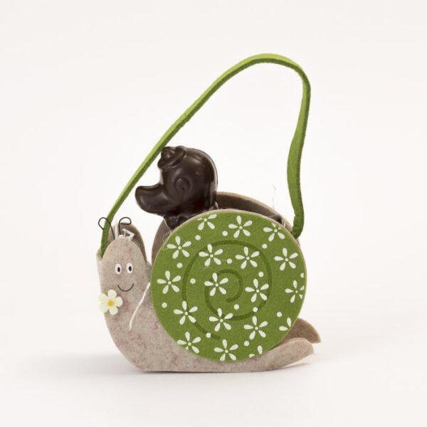 Borsetta lumaca verde con pupazzo di cioccolato