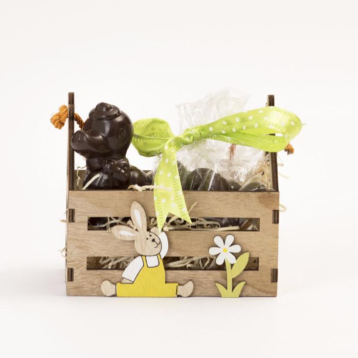 Cassettina in legno con pupazzo di cioccolato