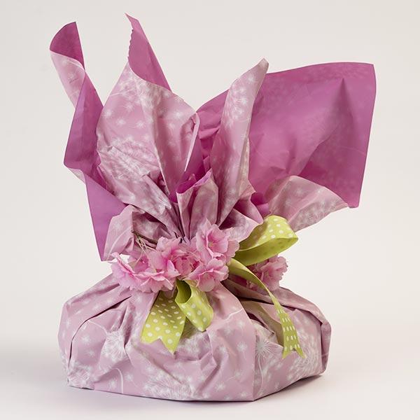 Confezione regalo per le colombe artigianali - versione rosa con nastro verde