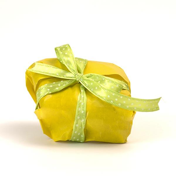Confezione regalo per le colombe artigianali senza glutine - confezione giallo con nastro verde