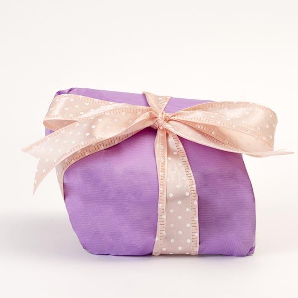 Confezione regalo per le colombe artigianali senza glutine - confezione viola con nastro rosa